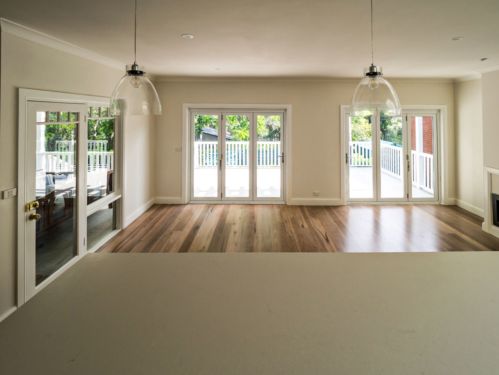 Berowra builder for home extension - kitchen island looking at deck