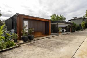 Split level home design with level front entrance