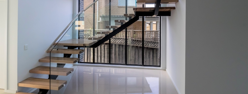 Floating staircase wooden treads